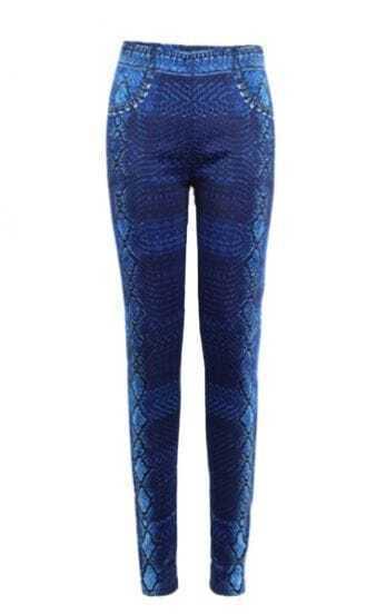 Blue Skinny Elastic Snakeskin Pockets Leggings