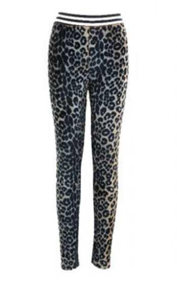 Blue Skinny Elastic Leopard Velvet Leggings