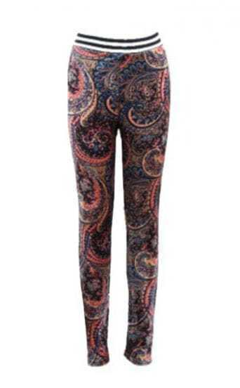 Orange Skinny Elastic Floral Velvet Leggings