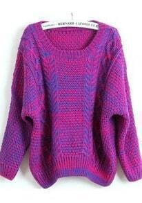 Purple Batwing Long Sleeve Loose Pullovers Sweater