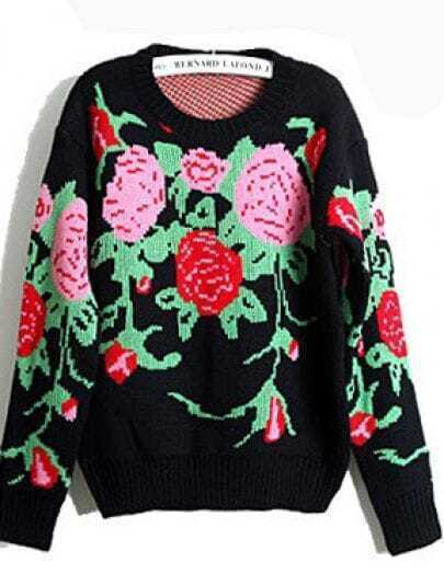 Black Long Sleeve Embroidery Loose Sweater