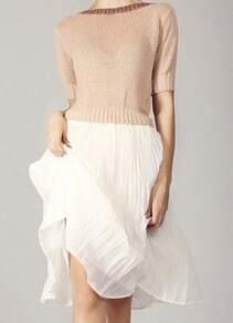 Khaki White Short Sleeve Backless Ribbon Pleated Dress