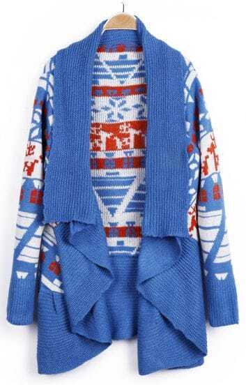 Blue Deer Geo Christams Pattern Draped Collar Open Cardigan