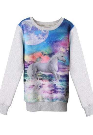 White Horse Galaxy Print Round Neck Pullover Sweatshirt