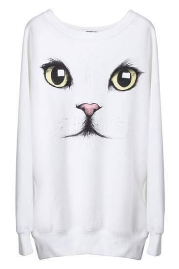 Пуловер Толстовка печати белой кошки