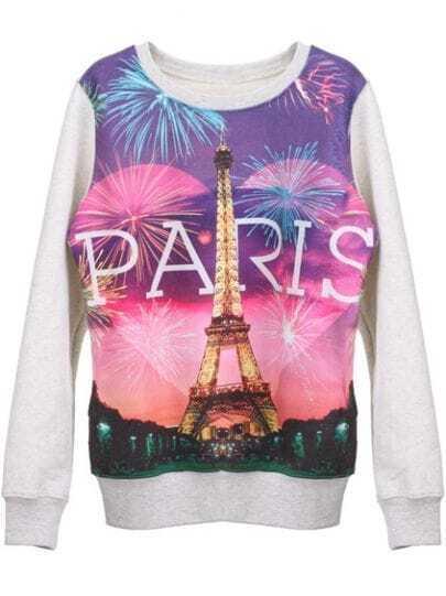 White PARIS Eiffel Tower Print Round Neck Pullover Sweatshirt