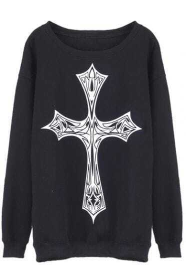 Black Skeleton Cross Print Round Neck Pullover Sweatshirt