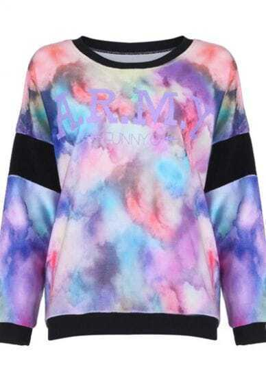 Black ARMY FUNNY Tie Dye Print Pullover Sweatshirt