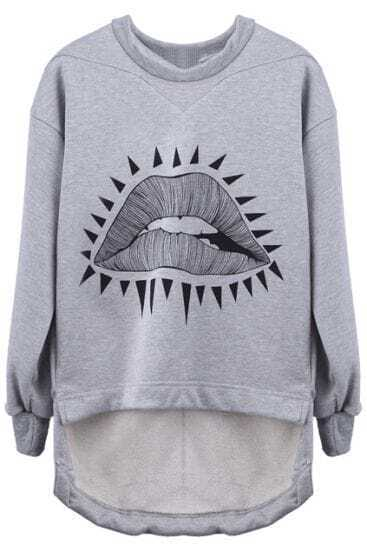 Grey Asymmetric Triangle Sexy Mouth High-Low Pullover Sweatshirt