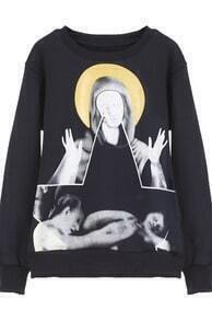 Black Long Sleeve Virgin Mary Print Sweatshirt