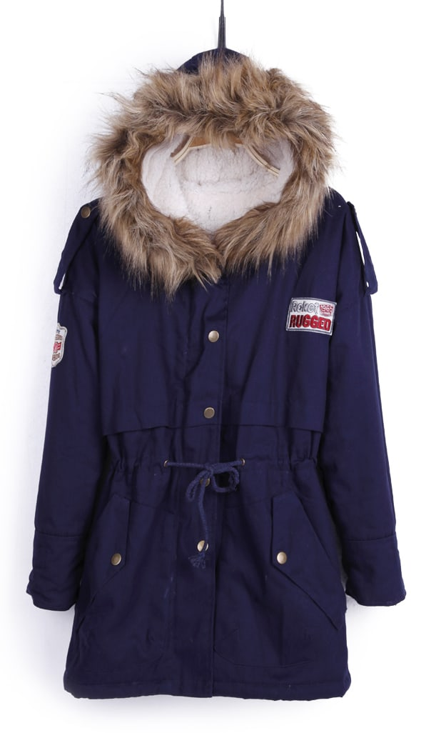 Navy Blue Fur Trimed Hooded Fleece Inisde Military Parka -SheIn ...