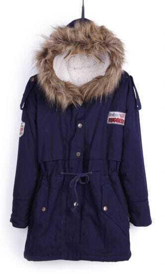 Navy Blue Fur Trimed Hooded Fleece Inisde Military Parka