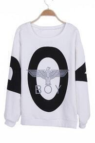 White and Black BOY OWL Print Round Neck Pullover Sweatshirt