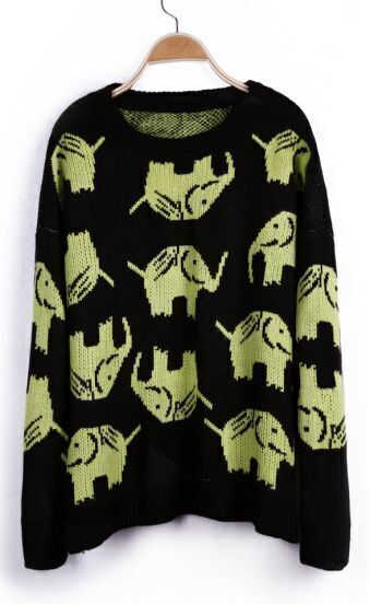 Green Elephant Pattern Long Sleeve Pullover Sweater