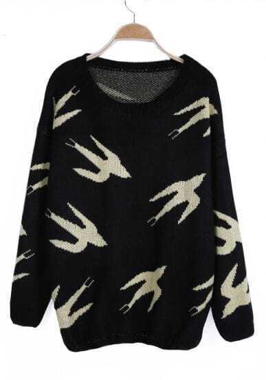 Green Wild Goose Pattern Long Sleeve Jumper Sweater