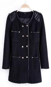 Black Contrast PU Leather Shoulder Trimmed Double Breatsed Coat