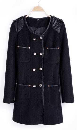 Black Contrast PU Leather Shoulder Trimmed Double Breatsed Coat