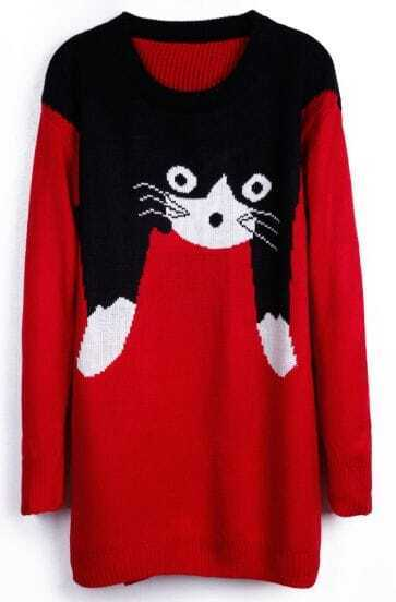 Slim Cat Cartoon Images Red Sweater