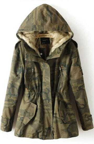 Green Camouflage Hooded Long Sleeve Drawstring Coat