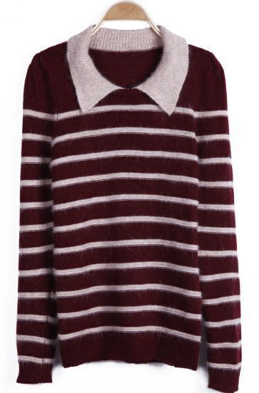 Oxblood and Apricot Pinstripe Contrast Collar Sweater