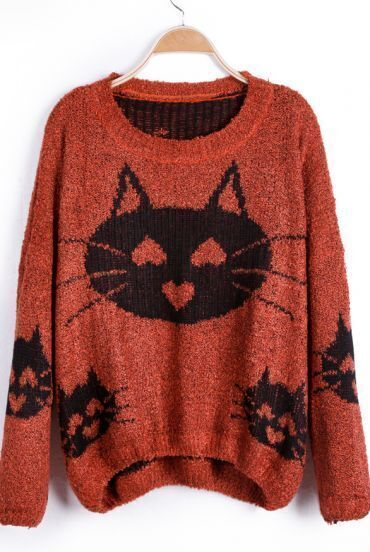 Dark Orange Heart Cat Pattern Oversized Pullover Sweater