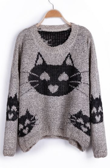 Grey Heart Cat Pattern Oversized Pullover Sweater