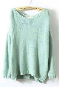 Mint Green Long Sleeve Split Loose Pullovers Sweater
