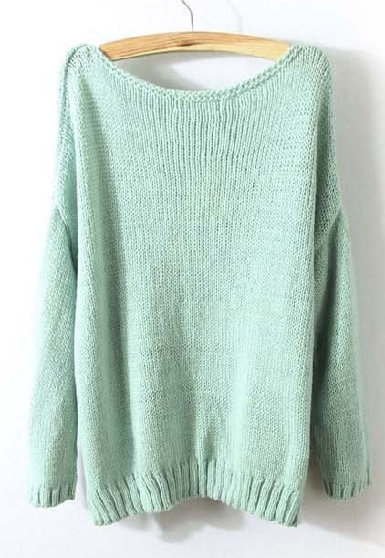 Mint Green Long Sleeve Split Loose Pullovers Sweater -SheIn(Sheinside)