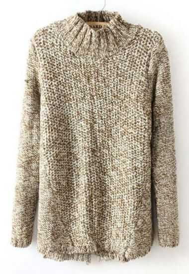 Brown Stand Collar Long Sleeve Back Split Sweater