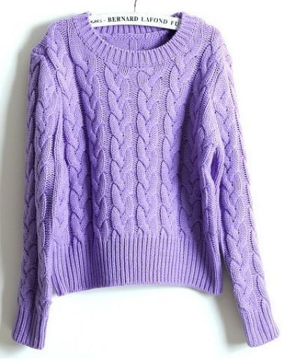 Light Purple Long Sleeve Embroidery Crop Sweater -SheIn(Sheinside)