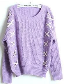 Purple Long Sleeve Ribbon Embellished Sweater