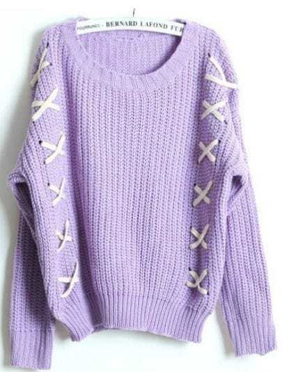 Purple Long Sleeve Ribbon Embellished Sweater