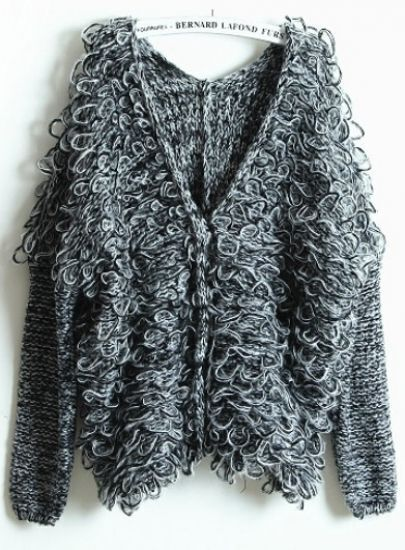Dark Grey V Neck Batwing Long Sleeve Loose Sweater