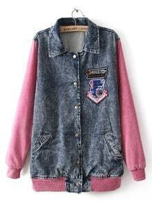 Blue Red Lapel Long Sleeve Letters Print Denim Coat