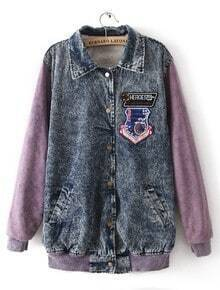 Blue Purple Lapel Long Sleeve Letters Print Denim Coat