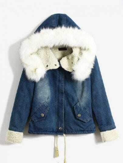 Blue Fur Hooded Long Sleeve Drawstring Denim Coay