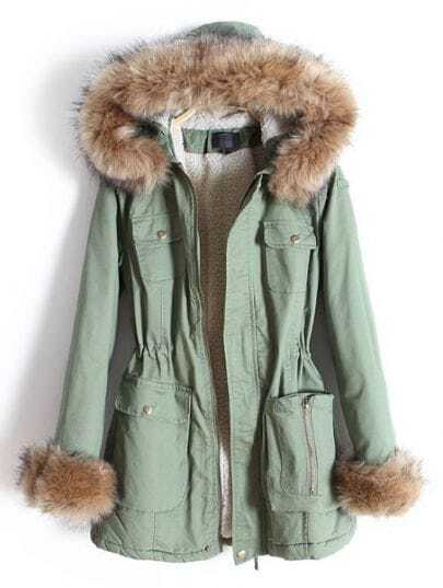 Green Removable Fur Hooded Zipper Pockets Coat