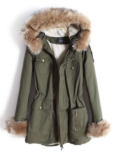 Army Green Removable Fur Hooded Zipper Pockets Coat -SheIn(Sheinside)