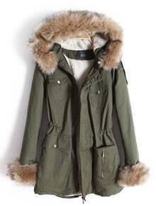 Army Green Removable Fur Hooded Zipper Pockets Coat