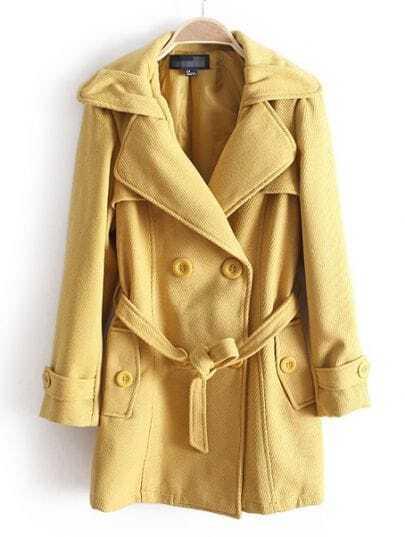 Yellow Long Sleeve Drawstring Waist Buttons Coat