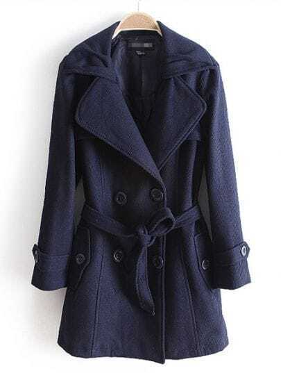 Navy Long Sleeve Drawstring Waist Buttons Coat