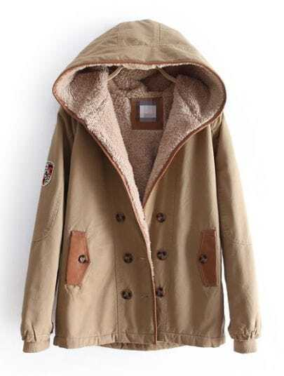 Khaki Hooded Long Sleeve Buttons Velvet Coat