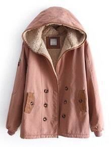 Dark Pink Hooded Long Sleeve Buttons Velvet Coat