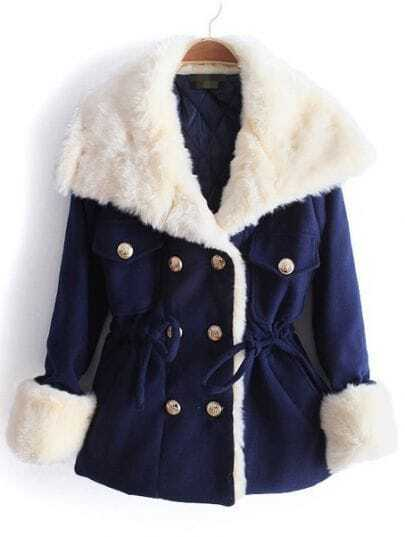 Navy Big Fur Lapel Drawstring Buttons Coat