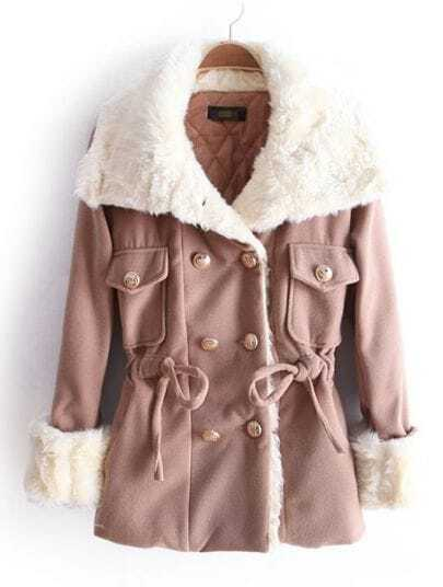 Khaki Big Fur Lapel Drawstring Buttons Coat
