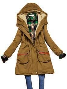 Khaki Hooded Elastic Waist Zipper Pockets Coat