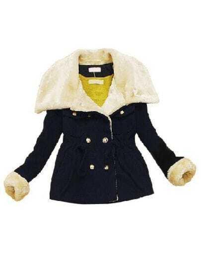 Black Fur Lapel Long Sleeve Zipper Pleated Coat