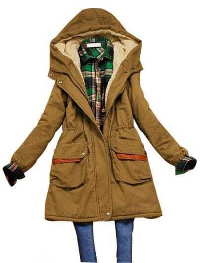 Khaki Hooded Elastic Waist Zipper Pockets Coat