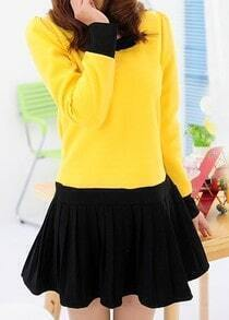 Yellow Black Long Sleeve Bow Pleated Dress