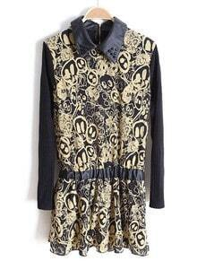 Khaki PU Lapel Long Sleeve Skull Print Dress